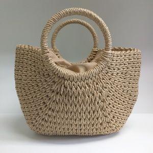 NWT Woven straw hand bag purse draw string